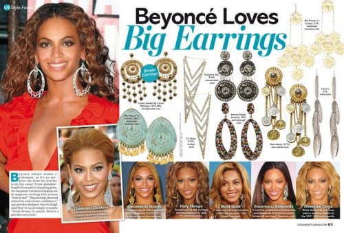 We just had two pairs of our earrings featured in Life & Style (thanks guys!!!) - the Valencia & Golden Savita  earrings (which are not even up yet - oops!) And a big thanks to B as well for uh, unknowingly havinging someone put your photo put next to them.