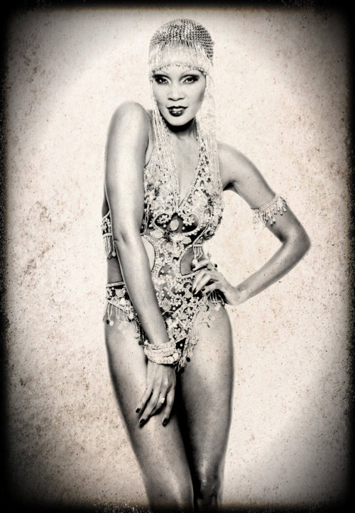 thepinupnoire:  The amazing Josephine Baker is the source of my inspiration when I wanted to create this 1920s look. Photographed by Winston Kerr.  Makeup artist and wig supplied by Jeff Jones.  I used Pixlromatic to change these once colorful photos, into the black and white images with vintage effects.
