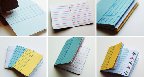 Use library cards, index cards, or old post cards to make these cute notebooks!