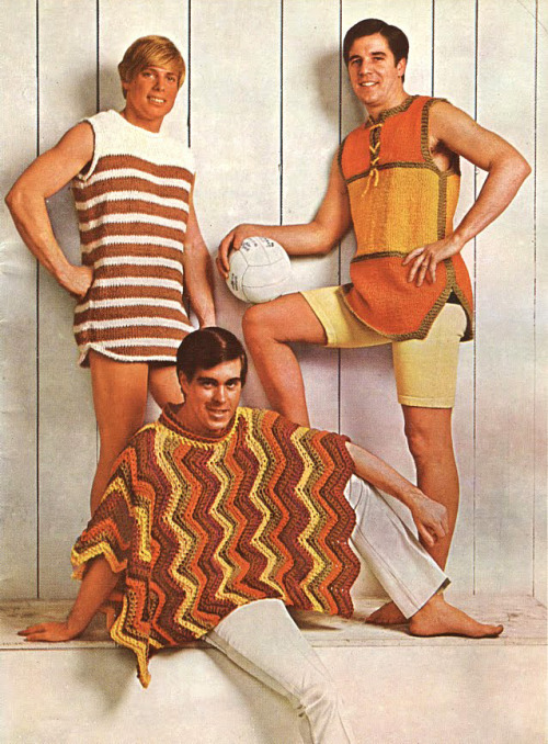 "superseventies:  Men's crochet fashions, 1970s.  Having watched Tinker Tailor Soldier Spy recently, I was beginning to think ""Hey, the seventies may have been full of brown and yellow but it was still kind of stylish!"" Then this picture came along to prove me wrong."