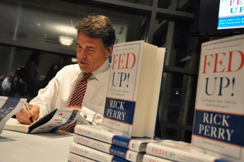 babywipesenthusiast:  motherjones:  Texas Governor Rick Perry's 2010 book Fed Up! has some pretty radical ideas: He calls Social Security unconstitutional, suggests the 16th and 17th Amendments should be repealed, and that states should be allowed to ban gay people from having sex. But he didn't pull these ideas out of thin air; Perry's controversial views on federalism and the nation's Judeo-Christian roots come straight from the pages of one of his favorite books: The Five Thousand Years Leap, by W. Cleon Skousen. Here's what else is on Rick Perry's reading list, and why you should care.  If he runs on trying to get rid of Social Security he's going to lose half his voters because they are dependent upon social security to live.   I really want him to just go away.