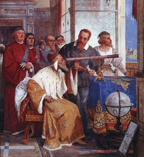 kaiyves:  itsfullofstars:  Today 402 years ago (August 25, 1609) Galileo Galilei introduce his telescope to the Venetian Lawmakers. While Galileo did not invent the telescope, his was the first to be used for astronomy. In fact, less than 5 months after he introduced the telescope, he discovered three moons traveling around Jupiter and just a few days later he discovered the fourth one. His observations of the satellites of Jupiter created a revolution in astronomy that reverberates to this day: a planet with smaller planets orbiting it did not conform to the principles of Aristotelian Cosmology, which held that all heavenly bodies should circle the Earth, and many astronomers and philosophers initially refused to believe that Galileo could have discovered such a thing. Fast forward to February 11, 2010; NASA Solar Dynamics was launched into Space - the most sophisticated solar observatory ever built. We have come long ways and today we should remember and thank Galileo for looking to the stars! Source: NASA SDO.  Here's to Galileo.