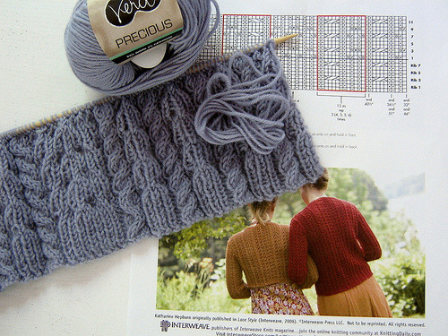 missviciouslovestoknit:  knitting in progress (by palebluedoor)  Loving this … I particularly love this yarn too! I wish it came in a cone!!!