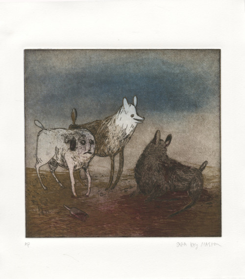 Dogs.  etching, spitbite, & drypoint © Sara Maston 2011