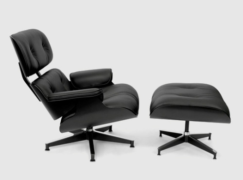 Back in black. vineetkaur:  Herman Miller has released a new limited Asia edition of the iconic Eames Lounge Chair and Ottoman. This version comes in all black, featuring black plywood framing and black premium leather. The chair is delivered along with a limited edition vintage poster of the chair. Both the framed print and the chair are limited to 100 pieces.
