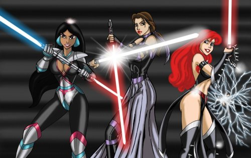 Jasmine, Belle and Ariel as Sith