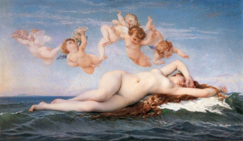 "Alexandre Cabanel - The Birth of Venus - 1863 ""This Venus hovers somewhere between an ancient deity and a modern dream; the ambiguity of her eyes, that seem to be closed but that at a close look reveals that she is awake… a nude who could be asleep or awake is specially formidable for a male viewer."" - Robert Rosenblum, art historian and curator"