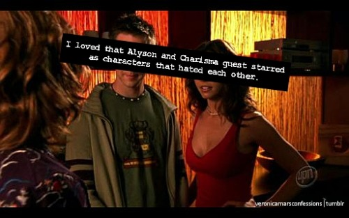 "veronicamarsconfessions:  ""I love that Alyson and Charisma guest starred as characters that hated each other.""Note: (I am assuming) this is in reference to the characters that Alyson and Charisma played on Buffy, where they also hated each other."