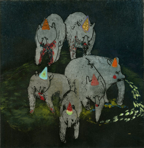 Party Hat Bears.  etching, aquatint & oil  © Sara Maston 2011