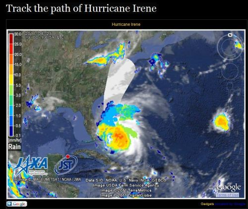 newshour:  Track the path of Hurricane Irene (First an earthquake, now a hurricane?? ^TG)