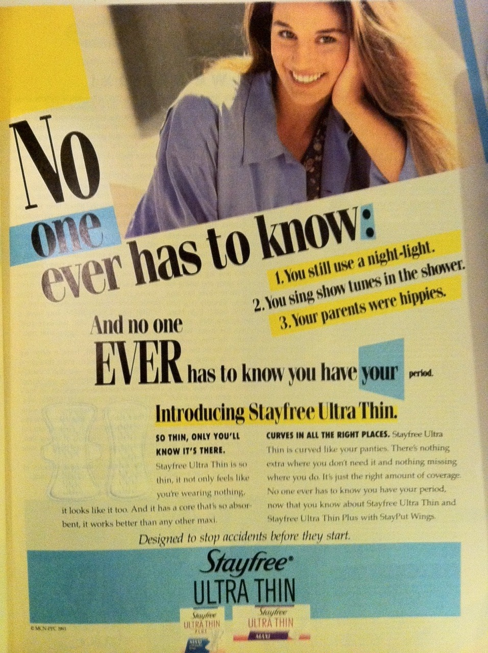 "radarthecat:  I recently came into possession of some old Sassy magazines, from 88-96.  I've been scouring them for collage material and occasionally stopping to read some 90s exposition.  I grew up in the 90s as a teenager and remember a lot of the ads from that time period, specifically when I was about 13.  One recurring theme in these magazines' ads has been these sort of ""your period is shameful and embarrassing"" message.  Even at 13, I remember thinking, why the fuck would I give a shit if someone knows I'm on my period?  I guess we've come a long way as they say.  It seems like now period ads are all about being proud and strong. Not too long after that, I started listening to this band called Heavens to Betsy.  The singer later went on to form the cult guitar band Sleater-Kinney.  Anyway, they put out a 7"" with a song called 'My Red Self' that comments on this idea that girls should be embarrassed about having their rag. I would include the video here, but I'm new to tumblr and haven't figured out how to embed videos.  But you can check out the Heavens to Betsy song My Red Self: http://www.youtube.com/watch?v=DZ3Aor3aJpY"