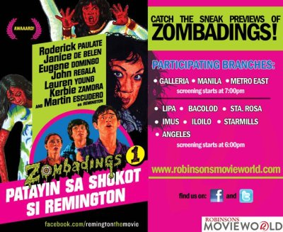 Robinsons Movieworld You can watch sneak previews ahead in the Movieworld branches listed on the photo by Aug. 29, regular showing is on Aug. 31!!!
