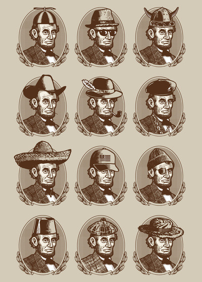 Abe tries on hats. $15, mini print.