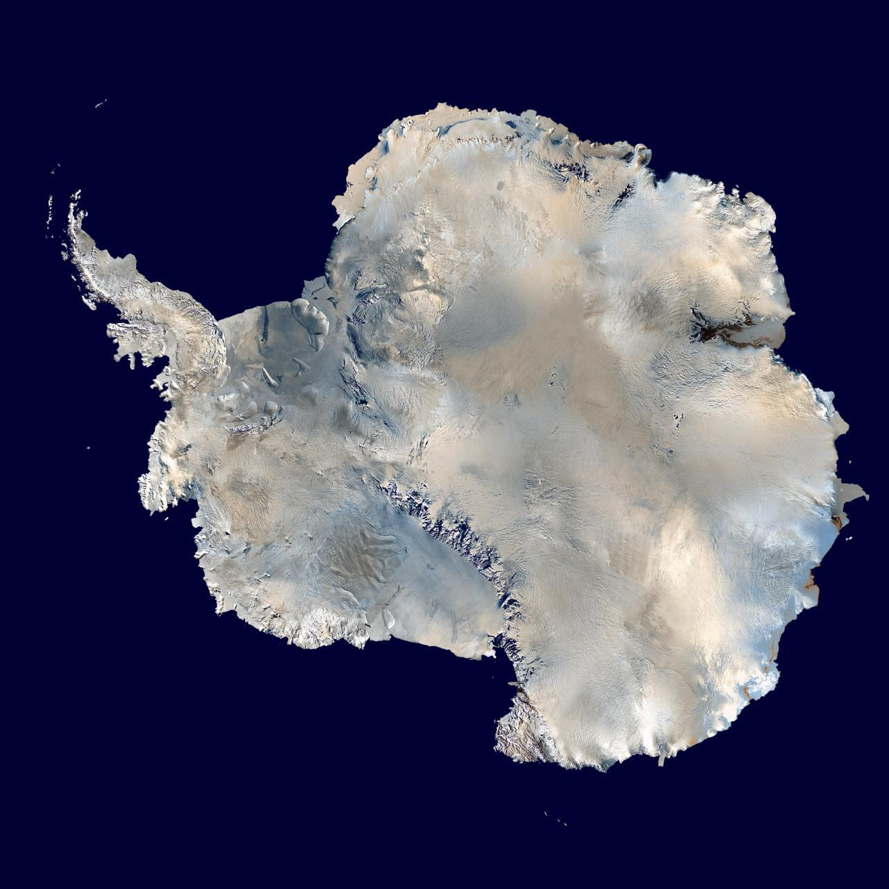 A satellite composite image of Antarctica (Blue Marble)    