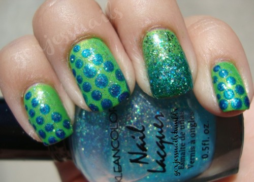 gorjessnails:  Random dots & glitter. What would you call this?