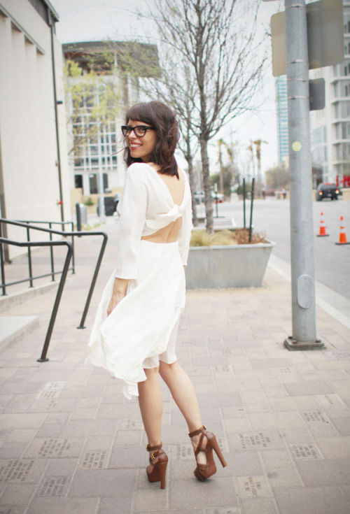 ifbnotes:  Thinking of going with a classic white dress with unexpected cut outs…. like this Philip Lim dress worn at the Texas Style Council! What are you wearing to the IFB Conference? Submit your looks!