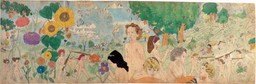 oppositeofmiddle:  Henry Darger -  6 Episode 3 Place not mentioned. Escape during violent storm, still fighting though persed for long distance Mid-20th centuryWatercolor, pencil and carbon tracing on pieced paper24 x 74 3/4 in.