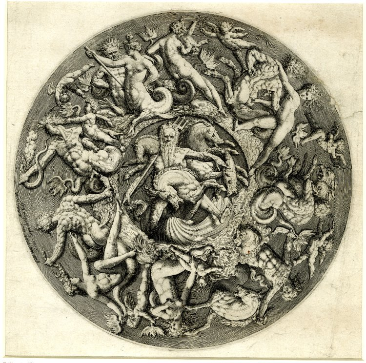 Neptune's Kingdom, printed by Jacob de Gheyn, published by Hendrik Goltzius. 1587