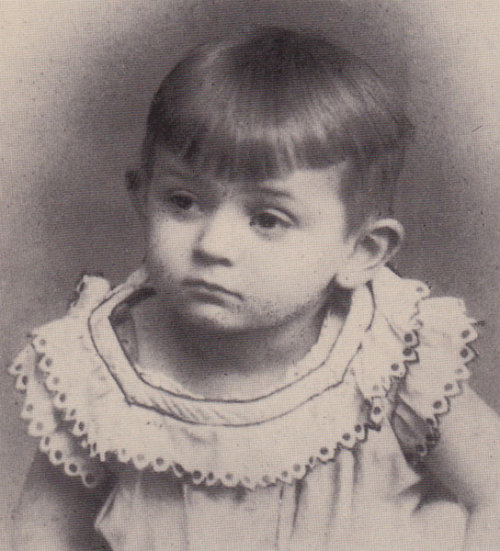 Photography showing Egon Schiele in 1892. He was 2 years old.