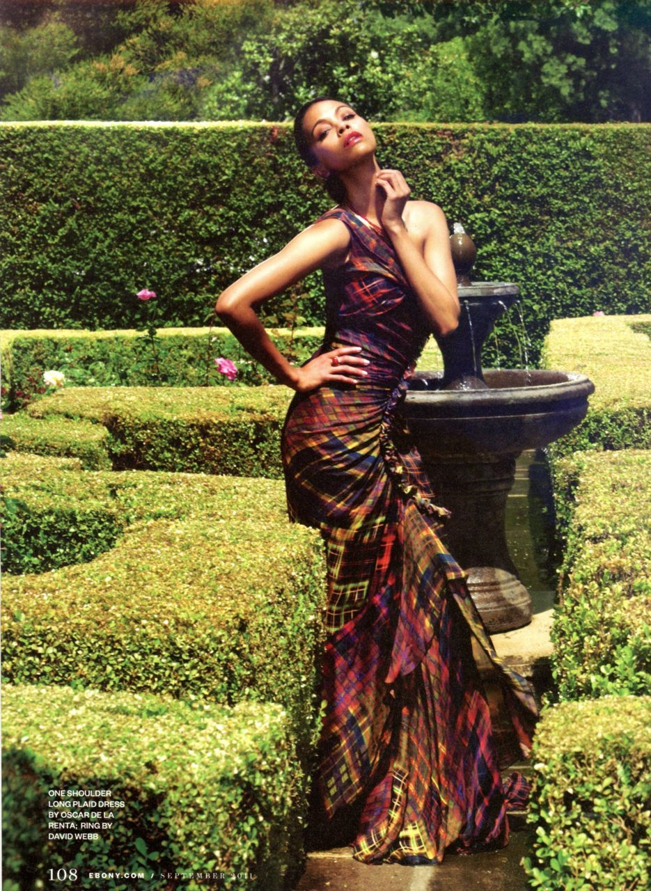 Zoe Saldana in Oscar de la Renta, from September @Ebonymag