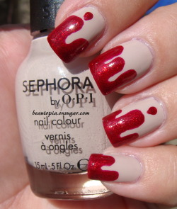Sephora by OPI Don't Feed the Hand Models and China Glaze Ruby Pumps. Blood Drips.