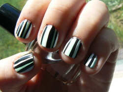 Mint Striped Nails Mint Green with Black and White Stripes These were also my 1st day of school nails. Kinda reminds me of retro wallpaper. I used Icing nail polish in Mint 2 Be and So Easy Stripe Rite in Black and White.