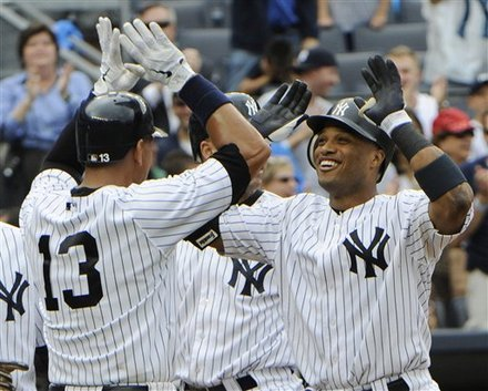The New York Yankees on August 25th, 2011 set a MLB record with 3 grand slams in a game. Curtis Granderson, Russell Martin and Robinson Cano hit the blasts. Wow.