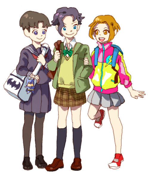 62xx:  Young Justice….??^p^* Tim:Sailor blouse & black tights Kon:Blazer & knee socks Brat:Nylon blouson & ankle socks  I…yes. Yes.