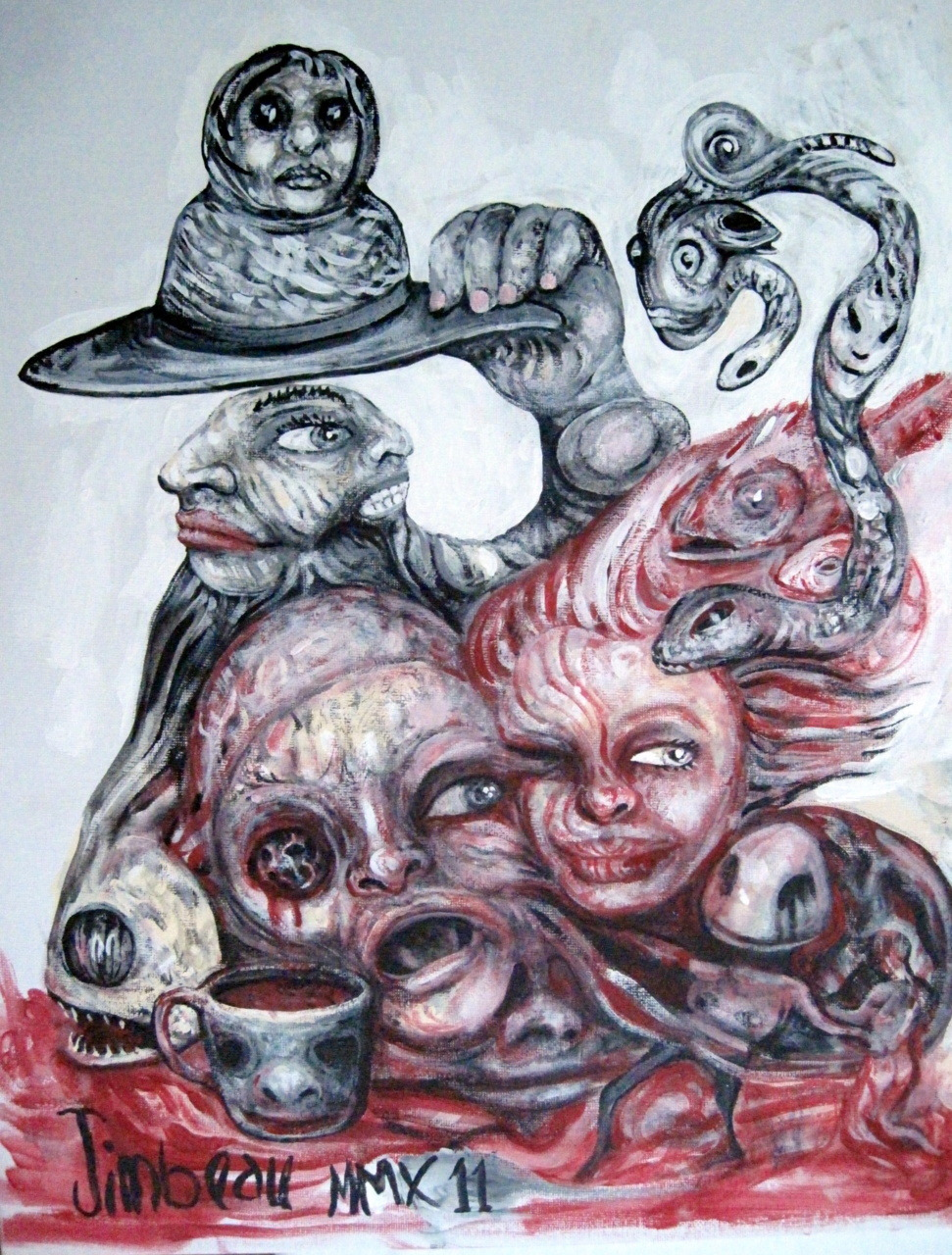 Under My Hat.(I painted this one in a coffee shop, with a lot of people watching.)