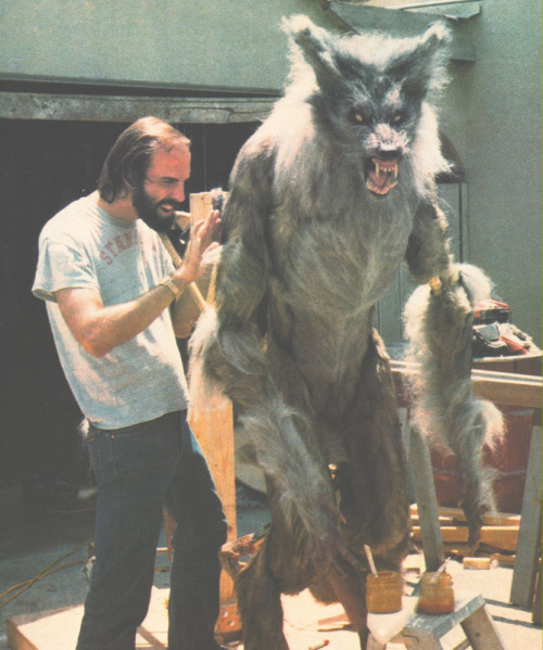 Rob Bottin working on the werewolf suit/puppet for Joe Dante's The Howling