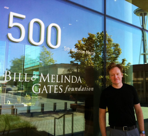 "Conan in Seattle?  ""Just tried to donate to the Gates Foundation. Curiously, they refused to accept my '92 Ford Taurus.""  (source: Team CoCo, via Twitter)"