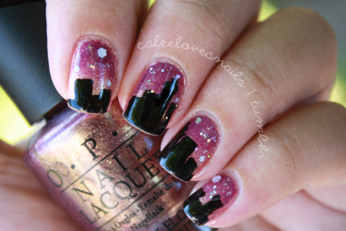LA Skyline Nails. So one night, I was having a conversation with my dear Maylene about traveling from LA to SF..back & forth..& an image of the skyline (at night time) just sorta popped in my head. I love where I'm from, born & raised :) What I used: -OPI - Rally Pretty Pink-OPI - Pamplona Purple-OPI - Teenage Dream-Nubar - Paradise-Migi nail art pen in black