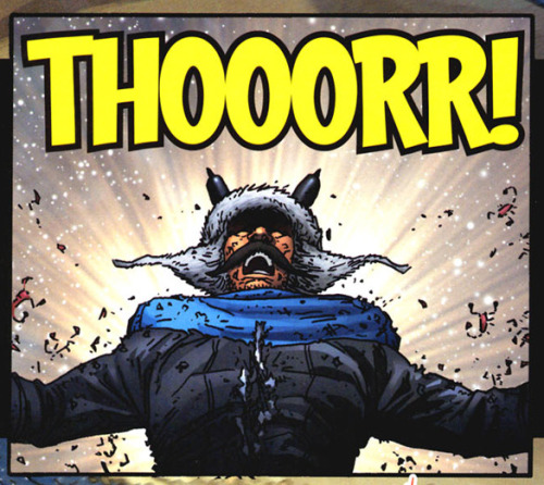 (via Bully Says: Comics Oughta Be Fun!)  Panel from Thor: Blood Oath #6 (February 2006), script by Michael Avon Oeming, pencils and inks by Scott Kolins, colors by Wil Quintana, letters by Dave Lanphear
