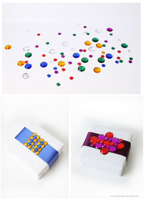 "DIY Gift Wrapping Using Craft Store ""Gems"". Found at Fancy House Road here. I just found this idea really sweet. Take a bag of gems ($1 or much less) and arrange them nicely on a package for someone special."