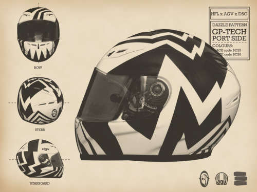 legallysmelf:  Dazzle camouflage AGV helmet painted by Death Spray Custom for Hell For Leather.