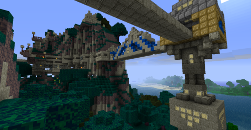 timeandforgiveness:  My mountain base on Minecraft. Geeky, but it's my secret new addiction. Also started making my own custom texturepack! Lordcraft features new Cobblestone, Glowstone, Iron Blocks, Gold Blocks.Basically everything you can see here. Plus a billion things you can't. But really… I just wanted to show that I hollowed out a mountain. Took me 7 HOURS.  I really like this texture pack so far.