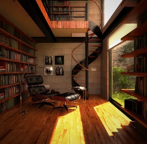 I dunno what it is about spiral staircases… but I fracking love them.  Oh the library is really nice too.
