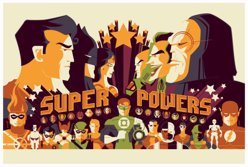 "dcwomenkickingass:  xombiedirge:  DC Super Powers by Tom Whalen  / Website / tumblr  36"" X 24"" 6 Colour Print, edition of 250. Available HERE   A very cool poster giveaway to celebrate Sideshow's new license with DC Direct. Included are the 33 figures in the line which I believe includes exactly one female character - Wonder Woman.  Wow… only one woman? How sad."