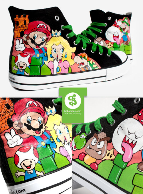 it8bit:  Super Mario Shoes - by Bobsmade Artist note: Acrylic paint (LUCAS) waterproof pens (Faber Castell) on canvas shoes Website || Facebook || deviantART  @sandraaaaaaa!!!!!!! <3<3<3<3<3