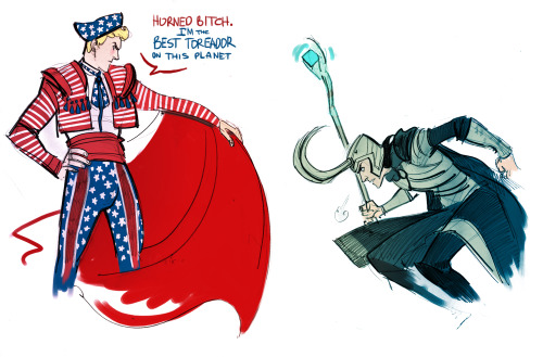 phobs-heh:  Captain America vs Loki x)) because Loki's horned helmet x)