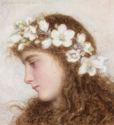 George Lawrence Bulleid - A girl wearing a garland of wild roses