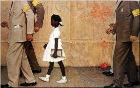 """My favorite thing about the painting has always been this: She's standing upright, unflinchingly looking straight ahead. And just behind her, there's what's left on the wall form something that clearly hurled at her, only moments before. Ari has it right. This is a heroic painting. Fromkohenari:  She Can't Be a Hero If Obama Likes Her  The power of the painting rests in this: An ordinary little girl, in her ordinary dress, on her way to what should be an ordinary day of school, who can't do any of this without several police protecting her from the violent actions of hate-filled, venomous people who loathe her because of her skin color. That little girl grew up into the adult Ruby Bridges, now 56 years old and living in New Orleans, who successfully lobbied President Obama to hang the painting in the White House. He opted to have it hung not down some dark hall, but right outside the Oval Office. More than two months after the painting was installed (it's on loan from the Normal Rockwell Museum, in Stockbridge, Mass.)the media has sat up and made this a big news story.Is Obama sending a message here? Why does a painting with such """"difficult"""" subject matter have to hang right outside the Oval Office? I spent a lot of time reading dozens of comments on various sites carrying the story. There are a surprising number that run along the lines of, """"Obama is playing the race card,"""" or, """"Can't blacks get over it?"""" or """"Obama is doing this only because of the opening Sunday of the Martin Luther King Jr. Memorial on the National Mall in Washington,"""" or (best yet, for those of us who are educators), """"That was long-ago history. Why drag it up now?"""" More than one sunny person asked why Obama couldn't put up """"something positive"""" about race. All these comments criticizing the painting and its placement, and not one recognizing the simple truth that for all the scathing indictment lurking in the painting's title, """"The Problem We All Live With"""" is aheroicpainting? It fits in with a l"""