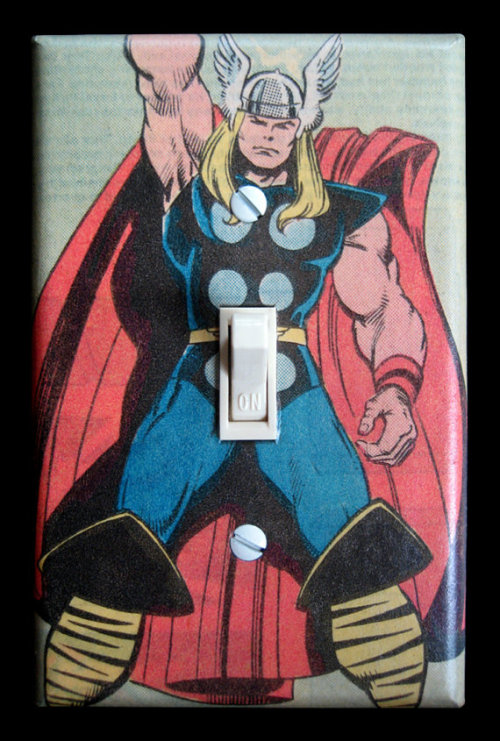 Who knew it was so easy to turn Thor on… pacalin:    Superhero Light Switch Plates - by Intergalactic Design Nylon switch plate made from vintage 80s comic book pages, adhered with archival PVA glue. Two coats of crystal clear, satin polyurethane for long life. White switch plate screws included. Switch *not* included. FREE SHIPPING! Available for $14.95 USD at Etsy. via: herochan
