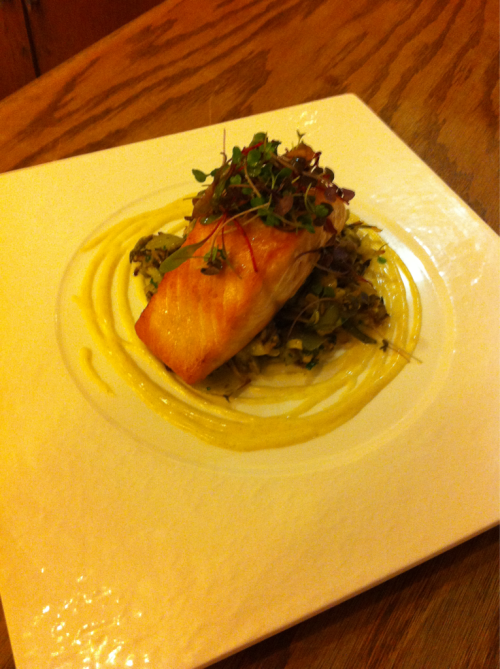 "New dish: Olive Oil poached Salmon at 52C for 15 minutes with 1in. thickness, below is a roasted veg. medley of Fennel, Corn, Leek and Garlic. Once reheated I toss it in a Mushroom ""Pesto"", tarragon, and chives. The sauce is a parsnip, vanilla puree."