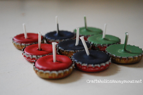 bridalsnob:  {Bottle Cap} Tea Light Candles   omg noah…