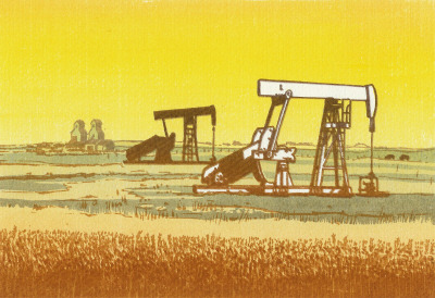"Alberta Oil, 1979, serigraph, George Weber. ""George Weber''s prints document the transformation of Alberta and the human impact on the prairies…George single-handedly furthered fine art             serigraphy (Latin term for silkprint - silk screening), particularly in             western Canada."""