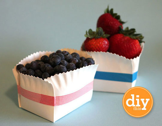 DIY paper plate baskets Even though August is coming to an end, there are still a few summer nights left for outdoor entertaining. And this is such a cute way to serve up fresh berries or even individually-sized salads or deserts. And what's best? Once your party is over, it's an easy clean-up, recycle or compost. Your choice.