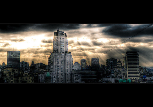 light over Gotham by Gerrit…! on Flickr.Via Flickr: Three exposure HDR shot handheld from my office. After playing around in postprocessing I somehow had to think of the Dark Knight… shot with: Nikon D7000 Sigma 17-50mm F2.8 EX DC OS HSM @ 36mm at f/2.8, 1/400sec (+2EV, -2EV), ISO 400