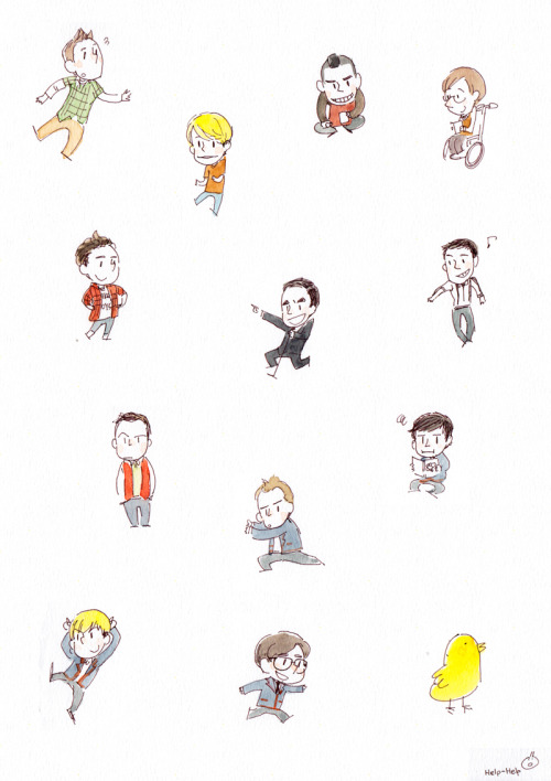 help-help:  some glee guys! from left top, finn, sam, puck, artie, kurt, blaine, mike, dave, jon, nick, jeff, brock, and pav..! haha, i don't know why i drew dalton guys:) and.. LOL PAV…sorry.