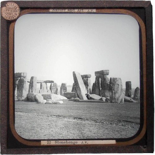 victoriasrustyknickers:  Magic Lantern Glass Slide View of Stonehenge, England.  By James Valentine, c1900